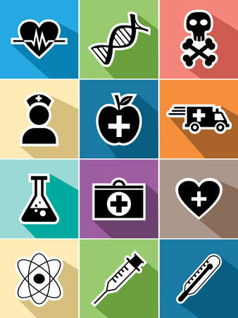 Medical healthcare set of flat icons design illustration. Can be used for website and mobile app. EPS10 vector file organized in layers for easy editing. Vector