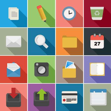 Office set of flat icons design illustration. Vector