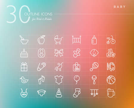 Baby shower outline icons set for web and mobile app. EPS10 vector file organized in layers for easy editing. Vector