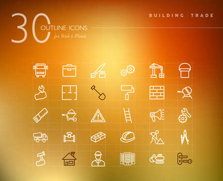 building trade: Building trade and construction outline icons set for web and mobile app.