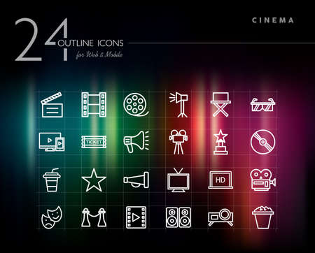 cine: Cinema and movie outline icons set for web and mobile app. Illustration