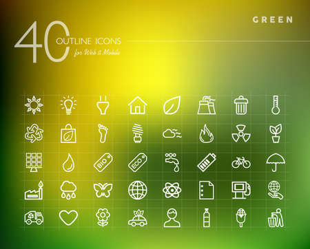 green eco: Green, ecology and environment outline icons set for web and mobile app.