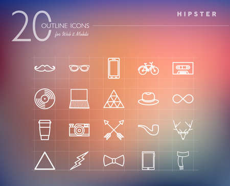 Hipster vintage fashion outline icons set for web and mobile app. EPS10 vector file organized in layers for easy editing. Vector