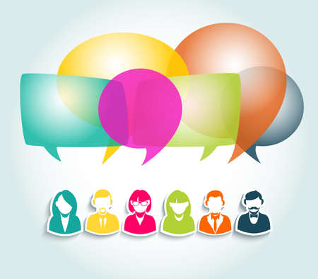 network design: Colorful social media people group. Chat and forum concept illustration. EPS10 vector file with transparency layers.