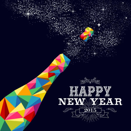 Happy new year 2015 greeting card or poster design with colorful triangle champagne explosion bottle and vintage label illustration. vector file with transparency layers. Vector