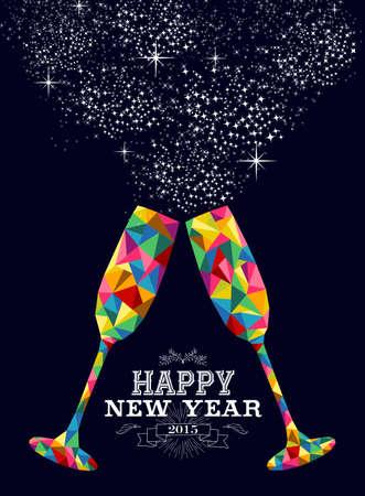 invitacion fiesta: Nueva tarjeta de felicitación o un cartel de diseño Feliz año 2015 con colorido cristal triángulo y la ilustración de etiquetas de la vendimia. Archivo vectorial EPS10 con capas de transparencia.