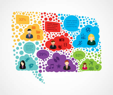 forum: Colorful Social media network user people on speech bubble shape. EPS10 vector file organized in layers for easy editing. Illustration