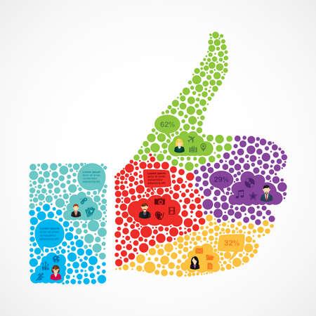 Colorido equipo de medios infografía usuario El trabajo social en el pulgar hacia arriba concepto de forma. Archivo de vectores organizados en capas para editar fácilmente.
