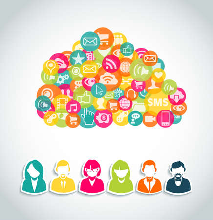 Social media cloud computing concept with user people and network colorful icons.  EPS10 vector file with transparency layers.