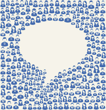 Social media user icons texture in talk bubble shape composition background. EPS10 vector file with transparency layers.