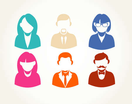 Social network business people users icons set illustration. EPS10 vector file with transparency layers. Vector