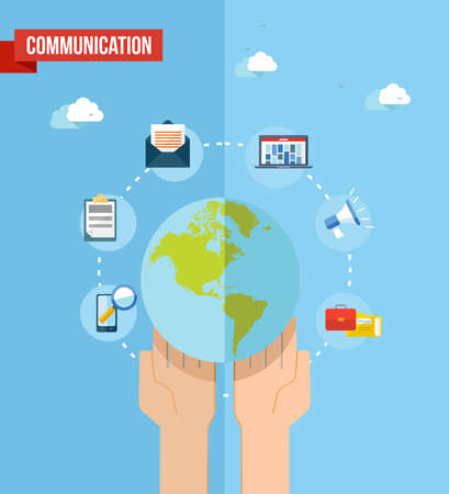 web marketing: Social media world and web concept with set of flat icons design. Marketing web, network and internet communication elements. vector file organized in layers for easy editing. Illustration