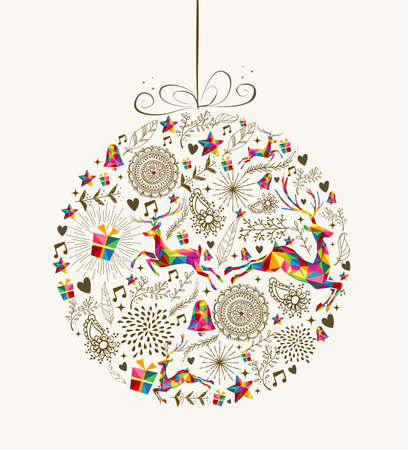 Vintage Christmas bauble shape with colorful reindeer and retro elements greeting card. vector file organized in layers for easy editing. Çizim