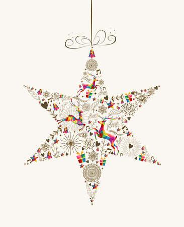 Forma chuchería estrella de Navidad Vintage con coloridos renos y elementos retro tarjeta de felicitación. Archivo de vectores organizados en capas para editar fácilmente.