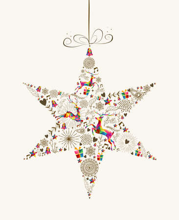 Vintage Christmas star bauble shape with colorful reindeer and retro elements greeting card. vector file organized in layers for easy editing. Çizim