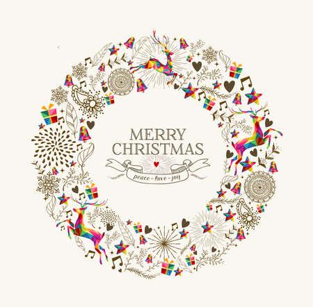 Weinlese-Weihnachtskranz Kranz Form mit bunten Rentiere und Retro-Etikett-Grußkarte. Vektordatei in Schichten für einfache Bearbeitung organisiert.