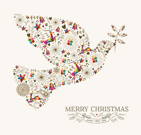 card file: Vintage Christmas peace dove shape with colorful reindeer and retro label greeting card. vector file organized in layers for easy editing.
