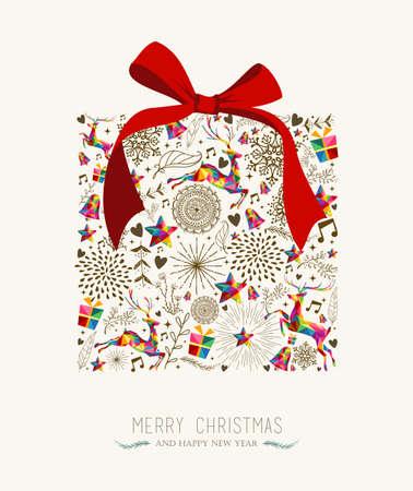 Weinlese-Weihnachtsgeschenkboxform mit buntem Ren und Retro- Aufklebergrußkarte. Vektordatei, angeordnet in Ebenen zur einfachen Bearbeitung.