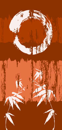 enso: Zen circle and bamboo silhouette over grunge wood texture poster background. EPS10 vector file organized in layers for easy editing.