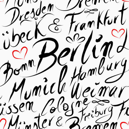 frankfurt: Travel Germany famous cities with handmade calligraphy. Berlin city, Frankfurt, Munich, Hamburg, Dresden. Seamless pattern background vector for your own poster, wrapping paper or marketing campaign.