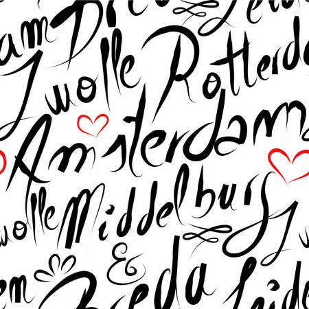 rotterdam: Travel Netherlands famous cities with handmade calligraphy. Amsterdam city, Middelburg, Rotterdam, Zwolle, Breda. Seamless pattern background vector for your own poster, wrapping paper or marketing campaign. Illustration