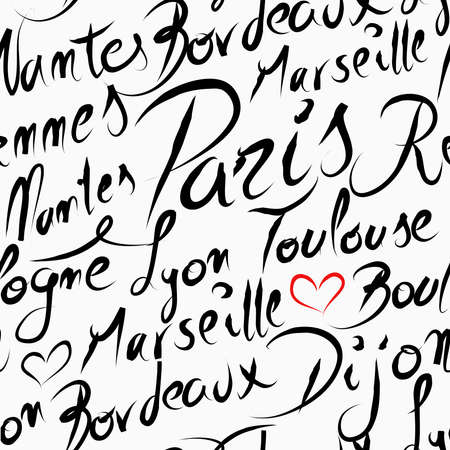 toulouse: Travel France famous cities with handmade calligraphy. Paris city, Marseille, Dijon, Cannes, Lyon.  Seamless pattern background vector for your own poster, wrapping paper or marketing campaign.