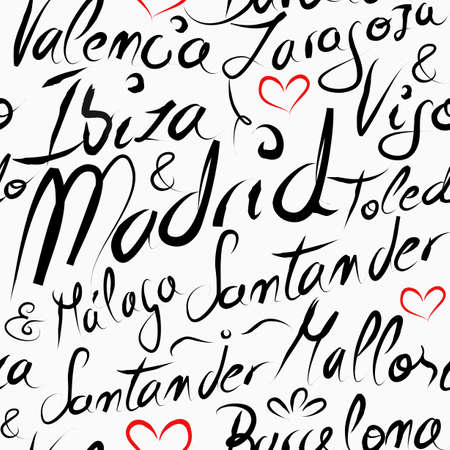 Travel Spain famous cities with handmade calligraphy. Madrid city, Barcelona, Valencia, Ibiza, Mallorca. Seamless pattern background vector for your own poster, wrapping paper or marketing campaign.