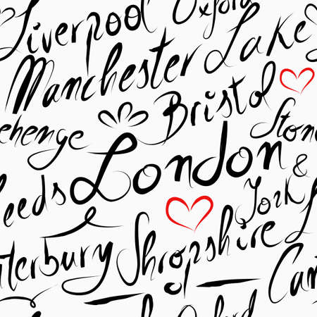 Travel England UK famous cities with handmade calligraphy. London city, Manchester, Liverpool, Oxford, Bristol. Seamless pattern background vector for your own poster, wrapping paper or marketing campaign. Vector