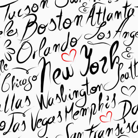 orlando: Travel United States famous cities with handmade calligraphy. New York city, Washington, Boston, Chicago. Seamless pattern background vector for your own poster, wrapping paper or marketing campaign.