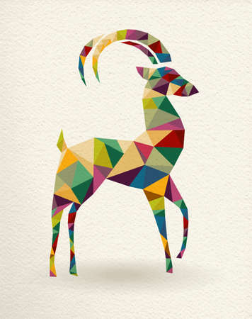 New Year of the Goat 2015 colorful geometric shape greeting card.