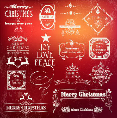Christmas vintage label set. Decorative elements for greeting cards, print poster and web design. EPS10 vector file organized in layers for easy editing. Vector
