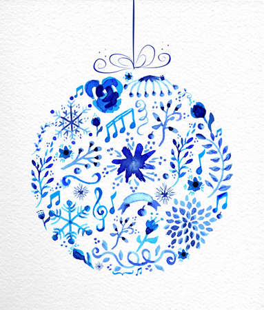 Vintage Christmas bauble shape. Hand drawn watercolor in blue with flowers, ribbons, snowflakes and retro elements. Ideal for greeting card, poster and web. Ilustração
