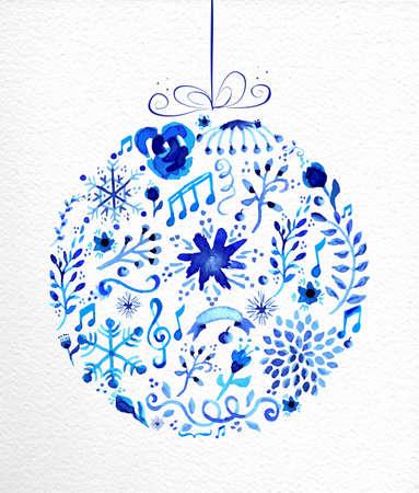 Vintage forme de boule de Noël. Tiré par la main aquarelle en bleu avec des fleurs, des rubans, des flocons de neige et des éléments rétro. Idéal pour carte de voeux, affiches et web. Banque d'images - 34007767