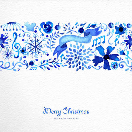 Hand drawn watercolor Christmas elements seamless pattern .  Illustration