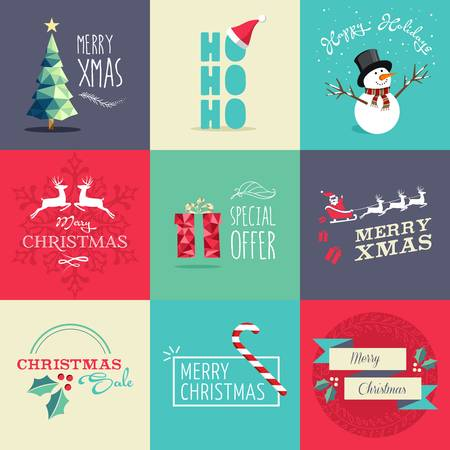 holiday invitation: Set of flat design elements for Christmas. Ideal for greeting card, poster and web template. EPS10 vector file organized in layers for easy editing. Illustration