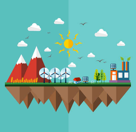 Green city concept illustration in flat style design. Ideas for ecology brochure, book cover and print poster. EPS10 vector file. Vector