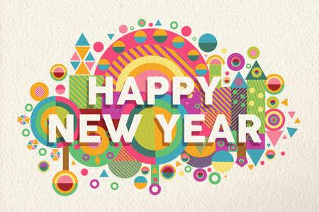 Gelukkig Nieuwjaar 2015 citaat ontwerp illustratie. Ideaal voor web, wenskaart en afdrukken poster. EPS10 vector-bestand. Stock Illustratie