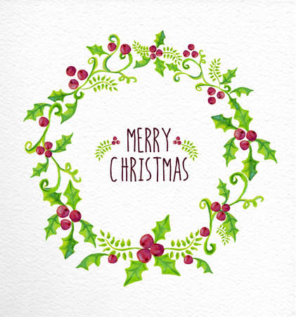 Merry christmas holly berry wreath. Hand drawn watercolor illustration. Ideal for greeting card, print poster and signboard. EPS10 vector file.