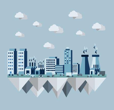 플랫 스타일의 디자인에 오염 도시 개념 그림입니다. 생태 안내 책자, 책 표지 및 포스터 인쇄 아이디어. EPS10 벡터 파일입니다. 일러스트