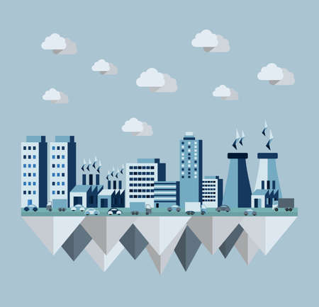 Pollution cityscape concept illustration in flat style design. Ideas for ecology brochure, book cover and print poster. EPS10 vector file.