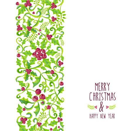 holly berry: Merry christmas holly berry seamless pattern. Hand drawn watercolor illustration. Ideal for greeting card, print poster and signboard. EPS10 vector file.