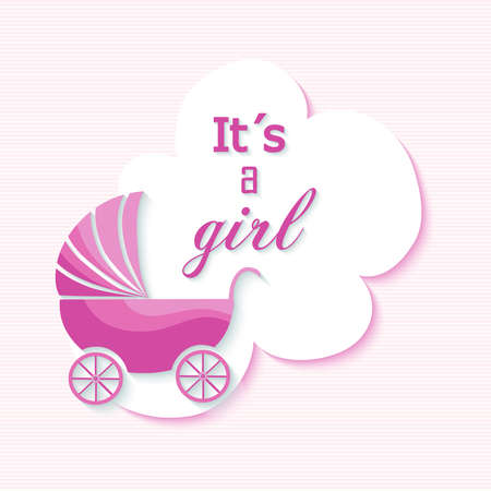Baby shower girl invitation card with pink stroller design illustration. EPS10 vector file organized in layers for easy editing. Illustration