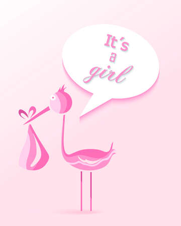 its a girl: Baby shower girl invitation card design with Its a girl text and pink stork. EPS10 vector file organized in layers for easy editing. Illustration