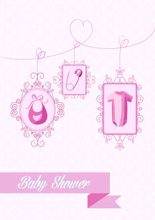 baby shower girl: Baby shower girl hanging pink decoration elements. EPS10 vector file organized in layers for easy editing.