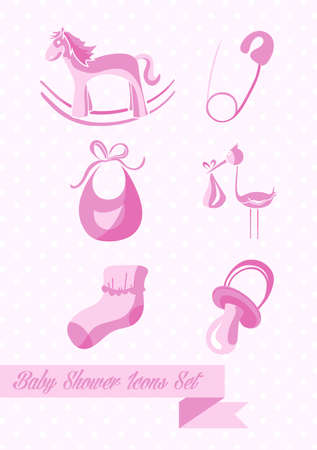 baby shower girl: Baby shower girl icons set design illustration. Can be used for website and app. EPS10 vector file organized in layers for easy editing. Illustration