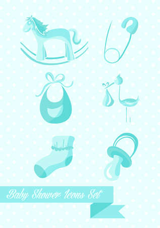 Baby Shower Boy Icons Set Design Illustration. Can Be Used For Website And  App.