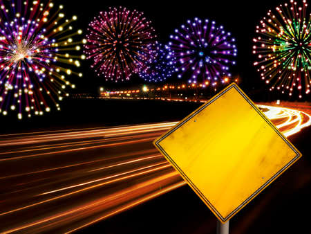 highway lights: Happy New Year fireworks and city cars highway lights with copy space in yellow road sign.