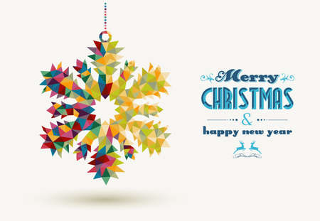Merry Christmas and happy new year retro snowflake made with colorful triangles background. Ideal for holidays greeting card, poster or web template. EPS10 vector organized in layers for easy editing.