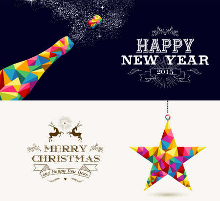 Happy New Year champagne splash and Merry Christmas shooting star in hipster triangle shapes. Useful holiday banners or cards design for season greetings. Vector organized in layers for easy editing.