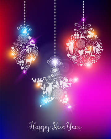 Happy new year 2015 elegant greeting card or poster design with unfocused lights and baubles. EPS10 vector file with transparency layers. Vector